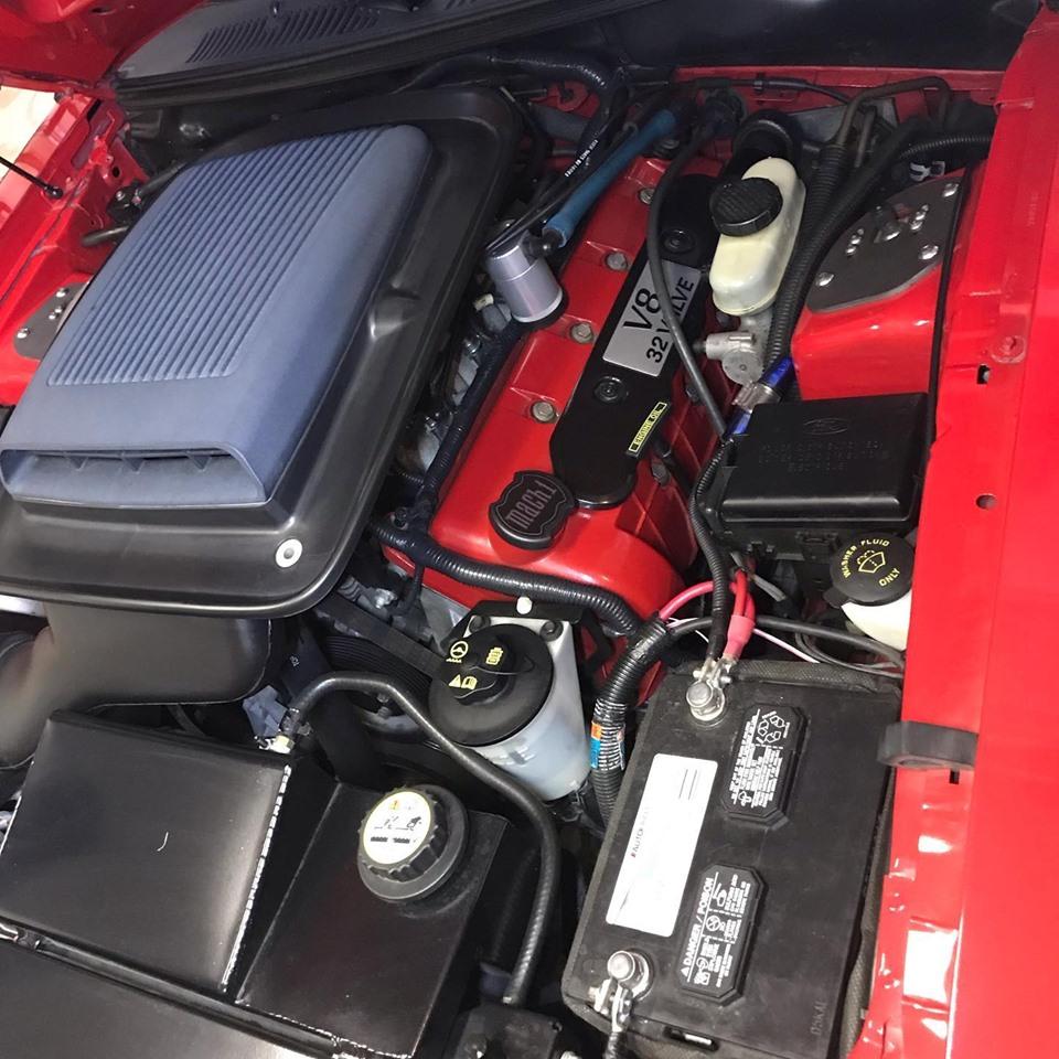 2003 Mach 1 Torch Red underhood drivers side.jpg