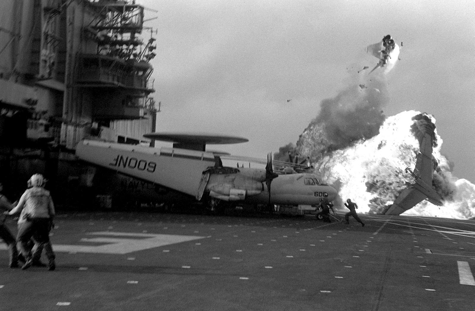 A-7E_Corsair_bursts_into_flames_aboard_USS_Midway_%28CV-41%29.jpg